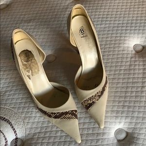 Bone and brown snake shoes